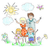 Happy Family Doodles Stock Image