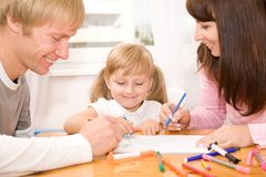 Happy family drawing Stock Images