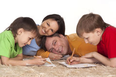 Happy family drawing Royalty Free Stock Image