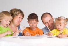 Happy family drawing Stock Image