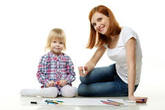 Happy family drawing picture. Royalty Free Stock Photos
