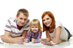 Happy family drawing picture. Stock Images