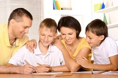 Happy family drawing Stock Photography