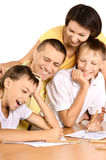 Happy family drawing Royalty Free Stock Photography