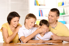 Happy family drawing Stock Photos