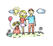 Happy family drawing. Drawing of happy family on white background stock illustration