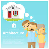 Happy family and dream house background Royalty Free Stock Images