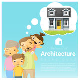 Happy family and dream house background Royalty Free Stock Photos