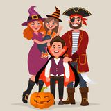 Happy family dressed in costumes, celebrates Halloween. Vector i. Llustration in cartoon style royalty free illustration