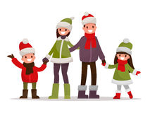 Happy family dressed in winter clothes on a white background. Ve Royalty Free Stock Photography