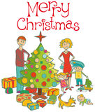 Happy family dressing up the christmas tree. Vector happy family mother, father, boy, girl, baby boy and dog dressing up the christmas tree Royalty Free Stock Photos
