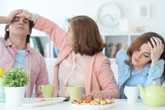 Happy family drinking tea together Royalty Free Stock Photos