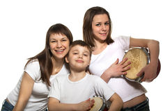 Happy family with drums. Happy smiling mother with children with drums Royalty Free Stock Images