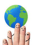 Happy family with the earth, isolated with clipping paths. Royalty Free Stock Photos