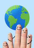 Happy family with the earth, travel, environmental protection co Stock Images
