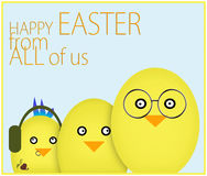 Happy family Easter card. Chicks wth problem child. Royalty Free Stock Photo