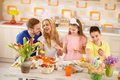 Happy family for Easter royalty free stock image