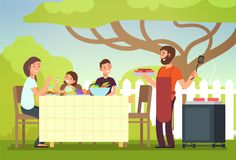 Happy family eating barbecue outdoor. Man, woman and kids cooking and grilling on summer holiday. Barbecue food, summer grill and bbq, picnic cooking royalty free illustration