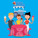 Happy Family Eating Ice Cream. Family Weekend. Vector Stock Photography