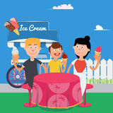 Happy Family Eating Ice Cream. Family Weekend. Vector Stock Photos