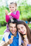 Happy family eating ice cream Royalty Free Stock Images