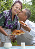 The happy family eats baked house pies Royalty Free Stock Photo