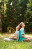 Happy family enjoy nature royalty free stock images