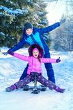 Enjoy winter day. Happy family enjoy sunny winter day. Snow. Winter clothes. Winter activity Royalty Free Stock Photos