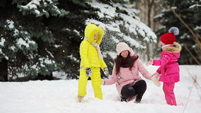 Happy family enjoy winter snowy day stock video footage