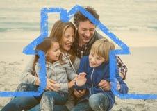 Happy family enjoying on beach above outline house Stock Photos