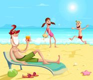 Happy family enjoying on beach. During vacations Stock Photography