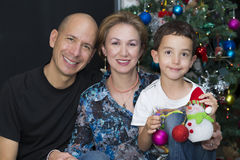 Happy Family enjoying at home at Christmas Royalty Free Stock Photos