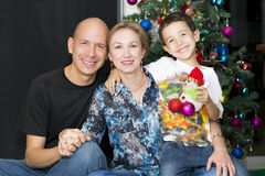 Happy Family enjoying at home at Christmas Royalty Free Stock Photo