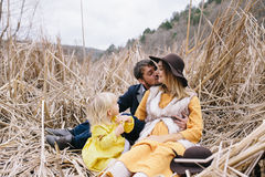 Happy family enjoying life outdoor. Stock Photo
