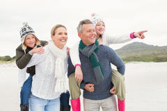 Happy family enjoying a nice day out stock photos
