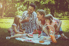 Happy family enjoying in picnic together. royalty free stock photo