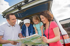 Happy Family Enjoying Road Trip And Summer Vacation Stock Images
