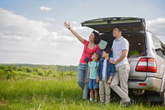 Happy family enjoying road trip and summer vacation royalty free stock image