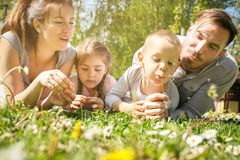 Happy family enjoying in spring day together. stock images