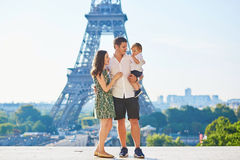 Happy family enjoying their vacation in Paris, France Royalty Free Stock Images
