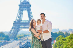 Happy family enjoying their vacation in Paris, France Royalty Free Stock Photo