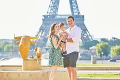 Happy family enjoying their vacation in Paris, France Royalty Free Stock Photos
