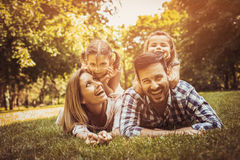 Happy family enjoying together in summer day. royalty free stock photo