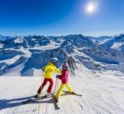 Happy family enjoying winter vacations. stock image
