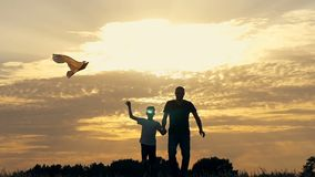 Happy family father and children running in the meadow with a kite in summer at sunset. Happy family father and children running in a meadow with a kite in stock video footage