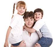Happy family father and group children. Stock Photography
