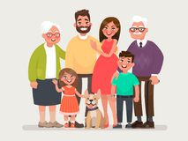 Happy family. Father, mother, grandmother, grandfather and children with a pet. Vector illustration Royalty Free Stock Photos
