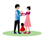 Happy family. Father and mother holding baby stock illustration
