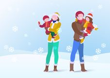 Happy Family Father and Mother Holding Son and Daughter on Snowdrifts Winter snow background with falling Snowflakes. Vector royalty free illustration