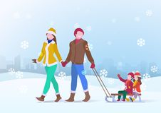 Happy Family Father and Mother parents ride on the sleigh of children Son and Daughter on Snowdrifts Winter snow background with royalty free illustration